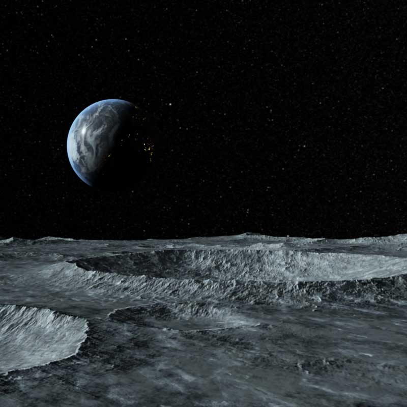 Mechanical simulation of the fall and impact of the penetrator on Moon.
